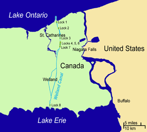 The Welland Canal connects Lake Ontario and Lake Erie through a series of eight locks, allowing ships to bypass the Niagara Falls, 51-meters high.