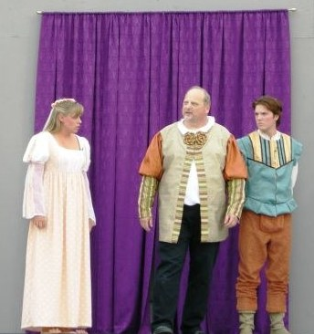 Sarah Marshall as Hermia, Roman Spera as Egeus and Andy Cameron as Demetrius
