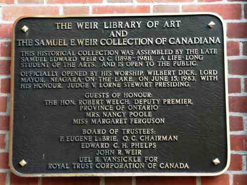 Weir Plaque